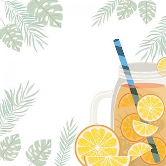 Marco de refrescante bebida para el verano.