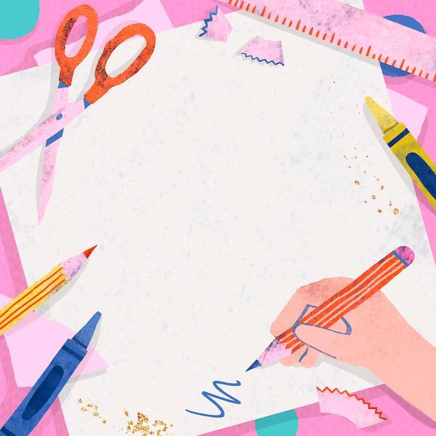 Marco de regreso a la escuela rosa en blanco