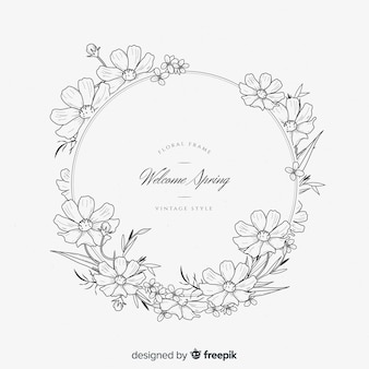 Marco retro primaveral de flores