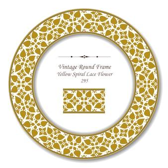 Marco retro redondo vintage de flor amarilla de encaje en espiral