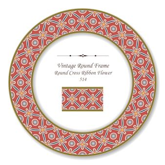 Marco retro redondo vintage de flor de cinta cruzada redonda