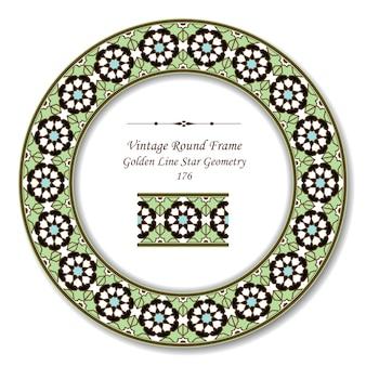 Marco retro redondo vintage de geometría de estrella verde de línea dorada islámica