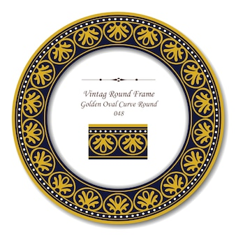 Marco retro redondo vintage de línea de punto redondo curva ovalada dorada