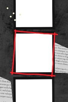 Marco rojo alrededor de un marco vacío
