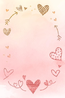 Marco romántico de san valentín en acuarela