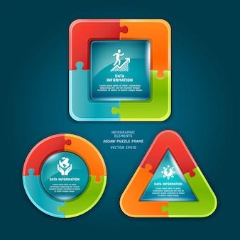 Marco de rompecabezas para el diseño del flujo de trabajo, diagrama, opciones numéricas, infografías.