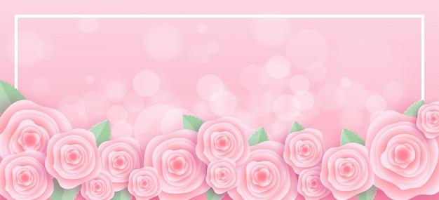 Marco de rosas en estilo de corte de papel