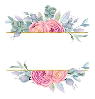 Marco de rosas hermosas acuarelas, hojas verdes y bayas en tonos morados, dorados y rosados