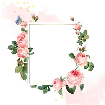 Marco de rosas rosadas de rectángulo en blanco sobre fondo rosa y blanco