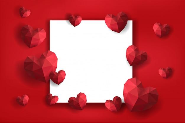 Marco de san valentín con corazones de papel