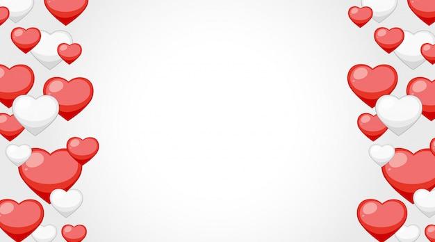 Marco de san valentín con corazones rojos y blancos