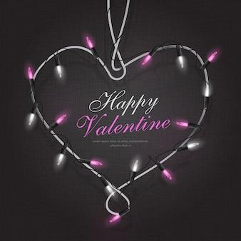 Marco de san valentín en forma de corazón con ilustración de luces de cadena
