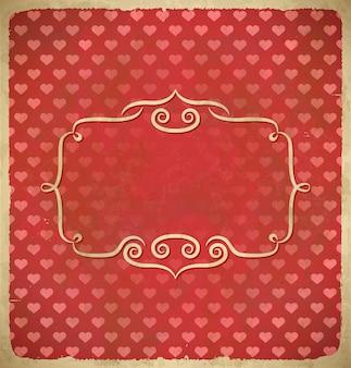 Marco de san valentín vintage envejecido con corazones