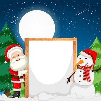 Marco con santa y muñeco de nieve