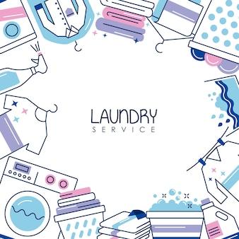 Marco de servicio de lavandería alrededor de los iconos