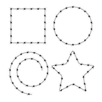 Marco de siluetas negras de alambre de púas. cepillo de patrón