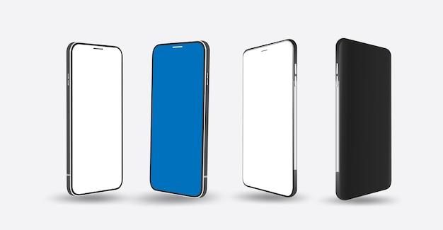 Marco de smartphone realista con pantalla en blanco aislada. teléfono inteligente con vistas de diferentes ángulos.