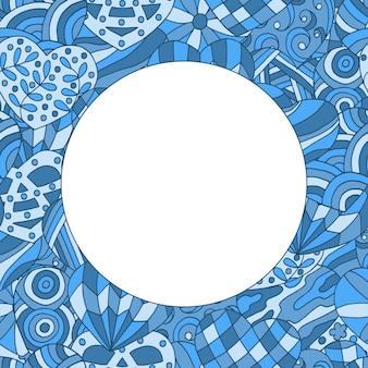 Marco sobre fondo pintado abstracto de corazones azules