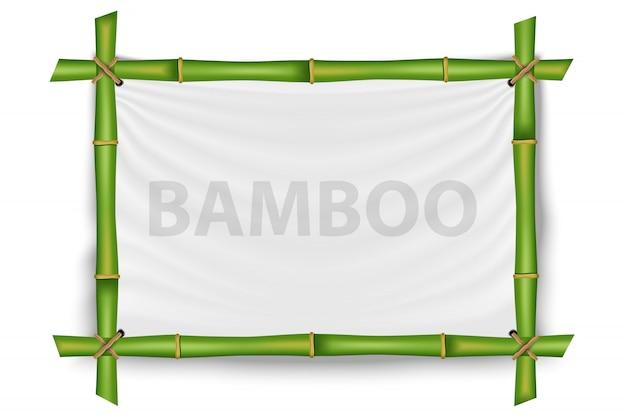 Marco de tallos de bambú, plantilla de maqueta en blanco.