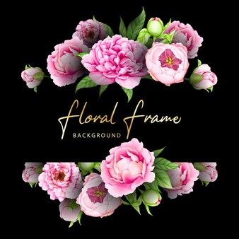 Marco de tarjeta de boda floral acuarela