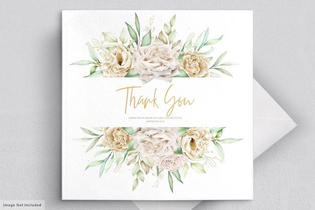 Marco de tarjeta de boda minimalista rosas blancas