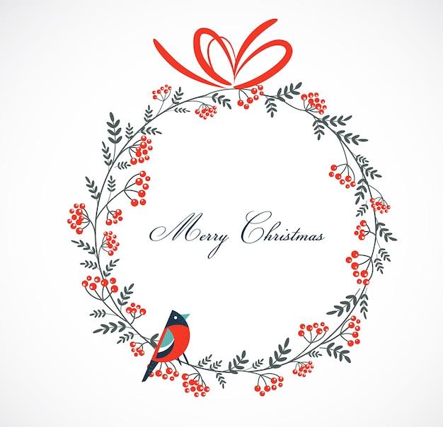 Marco de tarjeta de felicitación de navidad feliz con un petirrojo y elementos florales. fondo para pancarta o póster