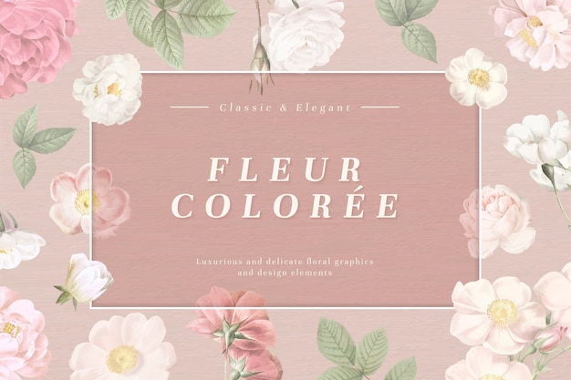 Marco de tarjeta florales polvorientos
