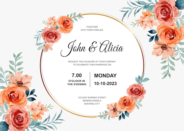 Marco de tarjeta de invitación de boda con acuarela de flor rosa