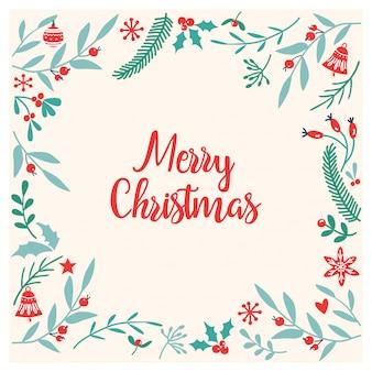 Marco de tarjeta de navidad con flores dibujadas a mano
