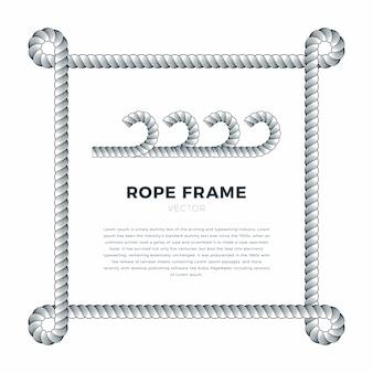Marco tejido de cuerda blanca con nudos de cuerda, fondo blanco con plantilla de texto