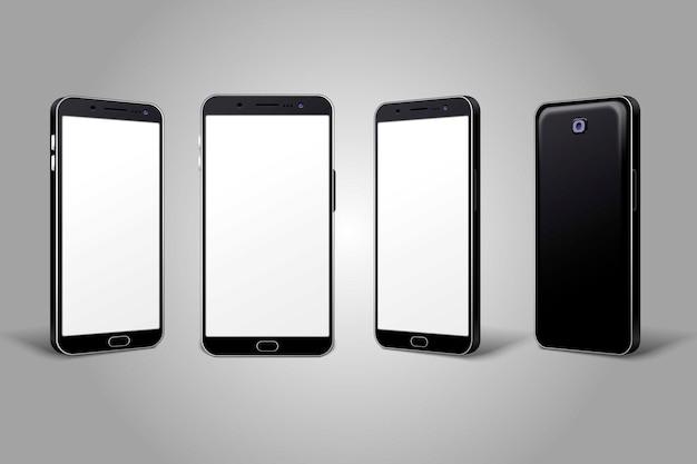 Marco de teléfono móvil con plantillas aisladas de pantalla en blanco