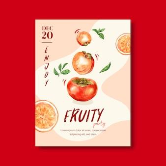 Marco temático de frutas con caqui, plantilla creativa de ilustración de color melocotón