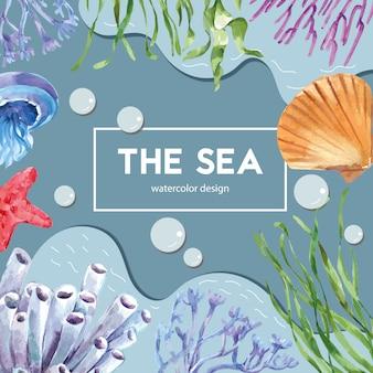 Marco temático sealife con animal bajo el mar, plantilla de ilustración de color de contraste creativo