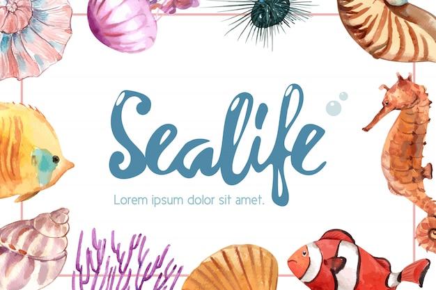 Marco temático sealife con concepto de animal marino, ilustración creativa de acuarela.