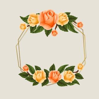 Marco de temporada de primavera con rosas amarillas y anaranjadas