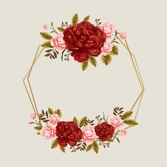 Marco de temporada de primavera con rosas rosadas y flores rojas