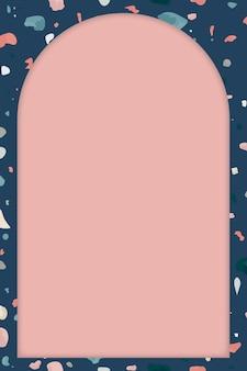 Marco de terrazo azul con fondo rosa