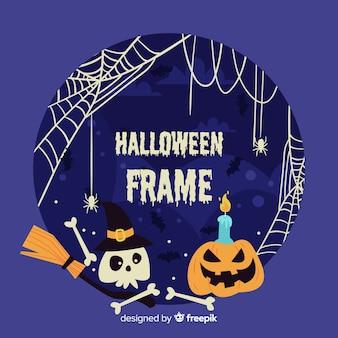 Marco terrorífico de halloween con diseño plano