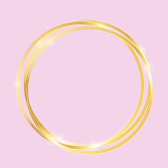 Marco con textura brillante pintura dorada sobre fondo rosa