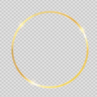 Marco con textura brillante de pintura dorada sobre fondo transparente
