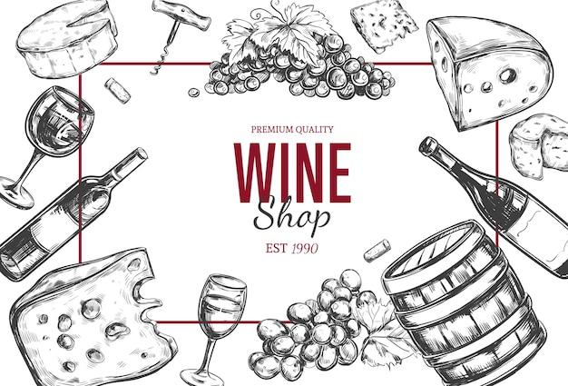 Marco de tienda vintage de vino con ilustraciones dibujadas a mano
