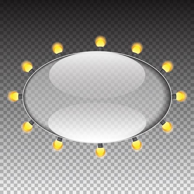 Marco de transparencia de vidrio con la ilustración de vector de bombilla de lámpara