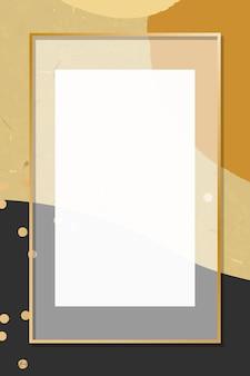 Marco transparente sobre fondo de patrón de memphis