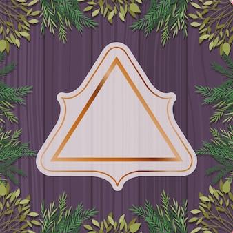Marco triangular dorado con fondo de hierbas y madera.