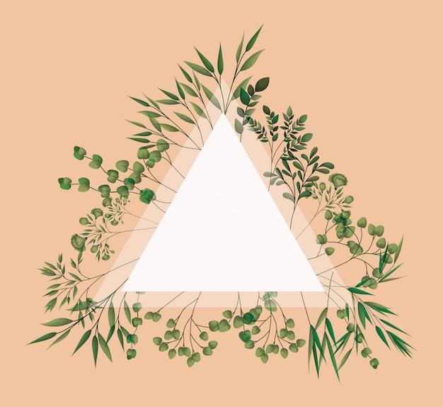 Marco triangular con hojas de laurel.