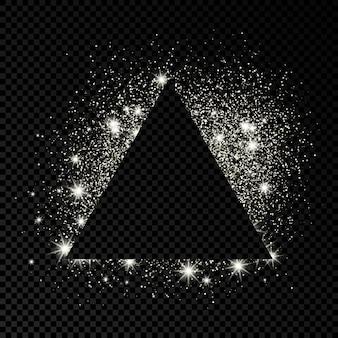 Marco de triángulo con purpurina plateada sobre fondo transparente oscuro. fondo vacío. ilustración vectorial.