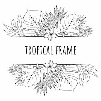 Marco tropical gráfico blanco y negro con hojas de plantas