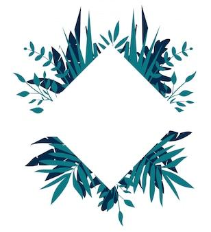 Marco tropical rombo, plantilla con lugar para texto