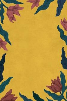 Marco de tulipanes florecientes en la ilustración de fondo amarillo