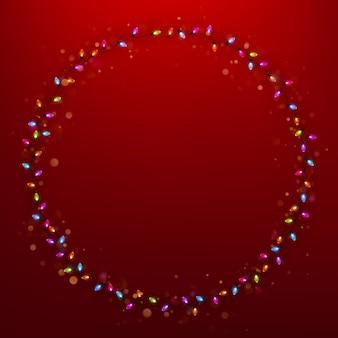 Marco de vacaciones con luces de navidad.